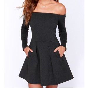 Gray off the shoulder LS fit and flare dress